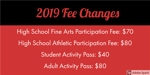 Fee Changes for the 2019-2020 school year